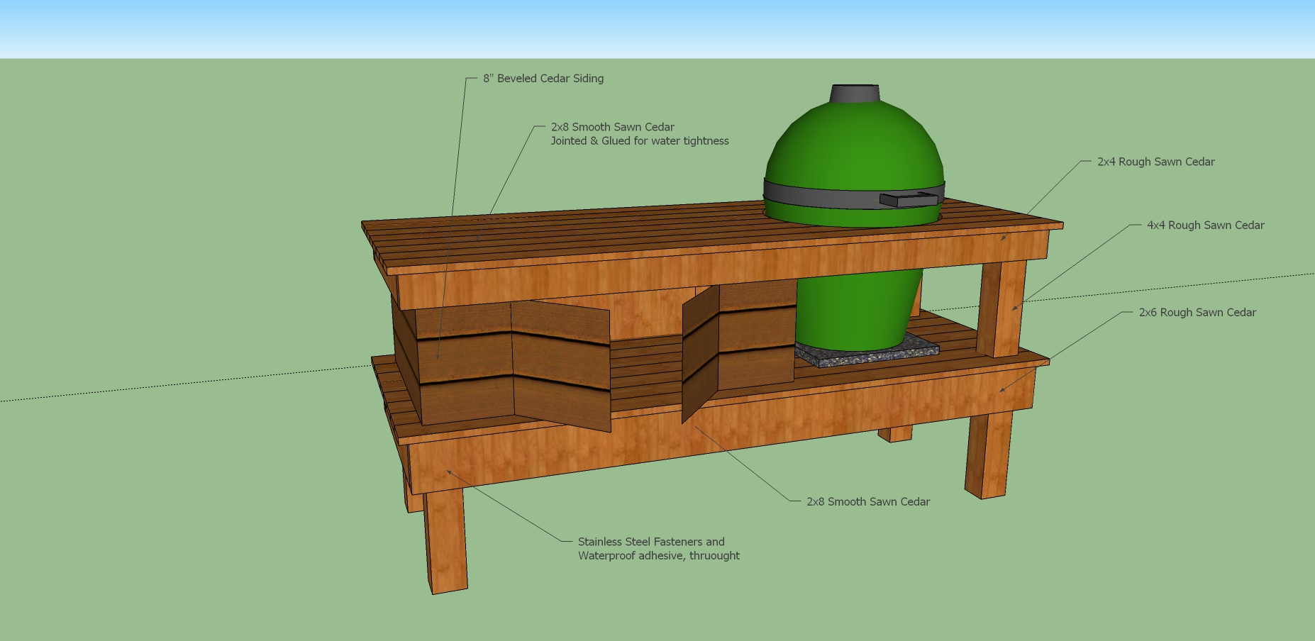 Woodwork big green egg long table plans pdf plans for Green plans