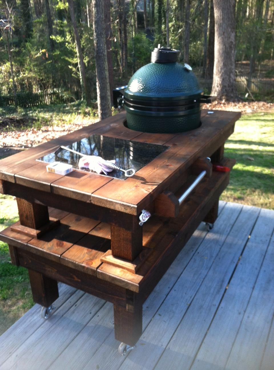 Custom Big Green Egg Table Walnut Amp Cedar Custom