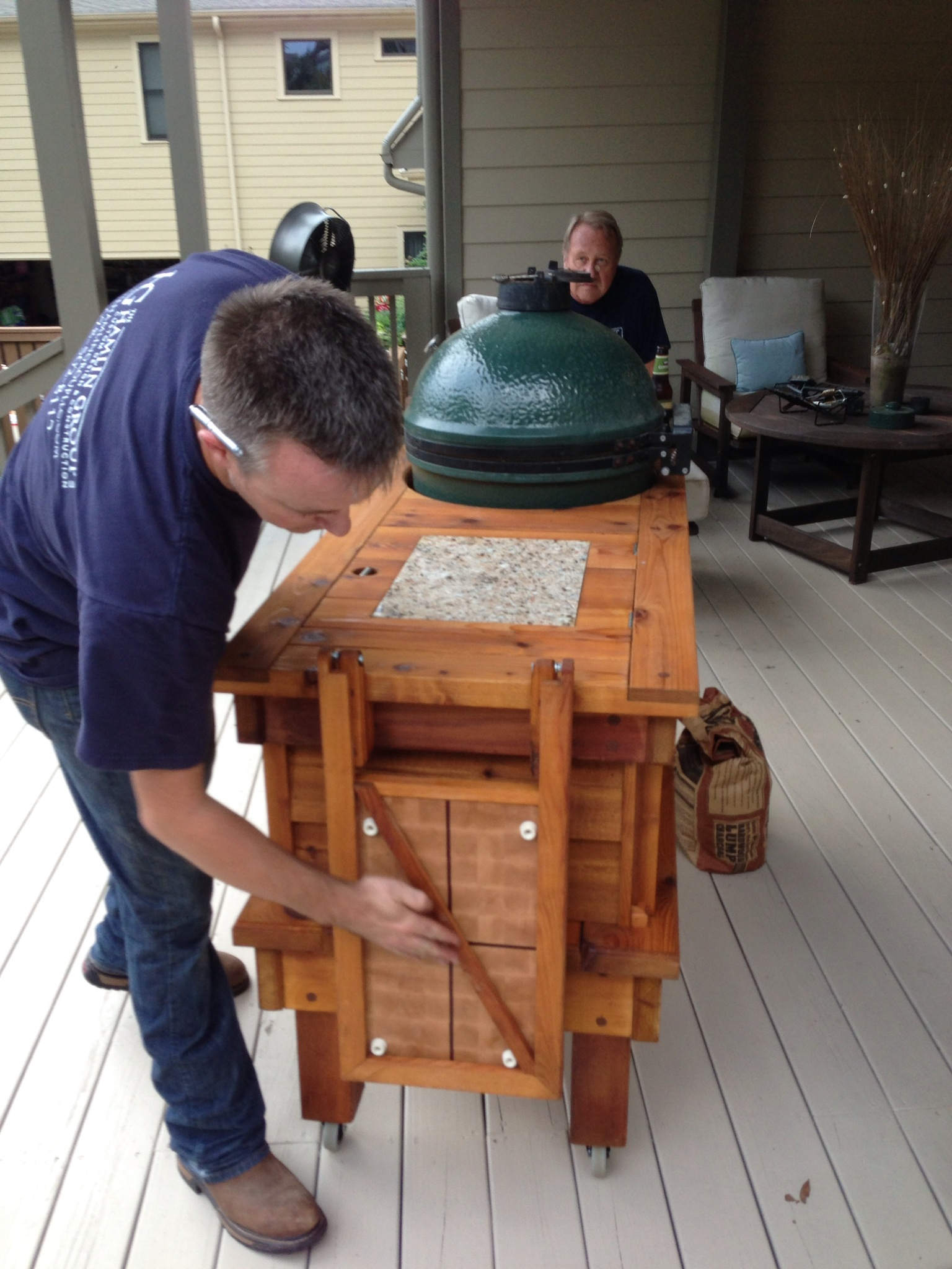 One Of A Kind Big Green Egg Table Custom Woodworks By Chad