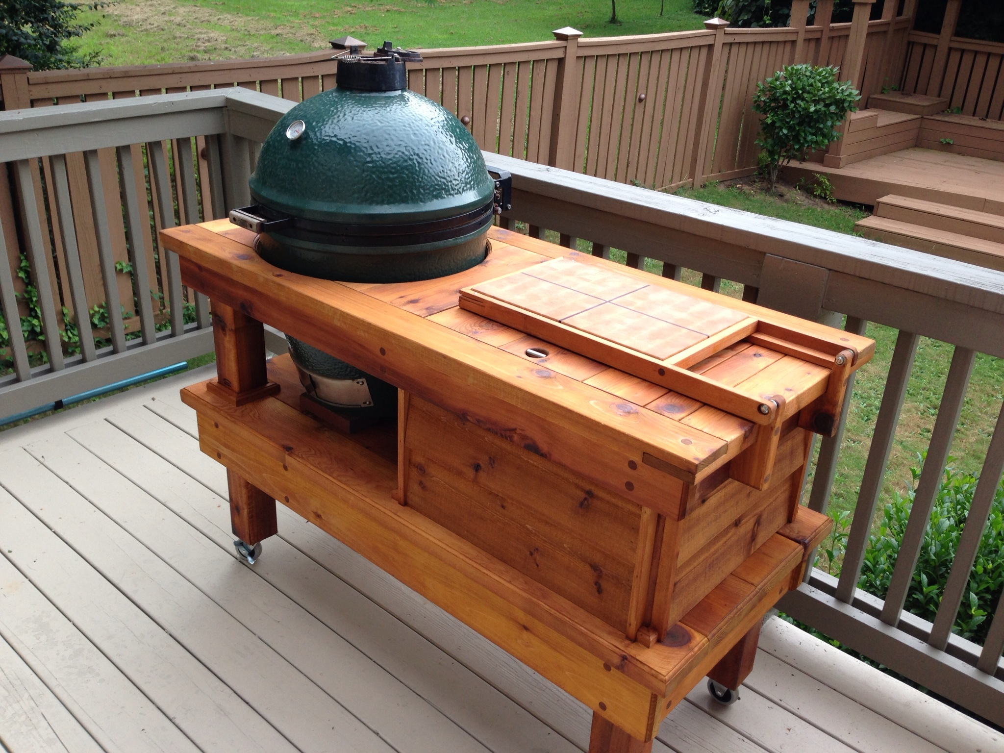 Fantastic One Of A Kind Big Green Egg Table Custom Woodworks By Chad Home Interior And Landscaping Eliaenasavecom